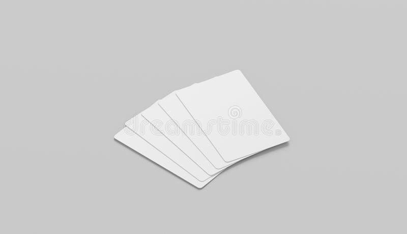Blank white five playing cards face mockup, isolated, side view royalty free stock image