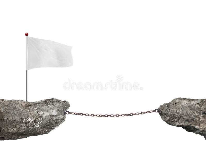 Blank white flag on cliff rusty chain connected another. Blank white flag on one cliff, rusty chain connected another cliff, with white background stock photos