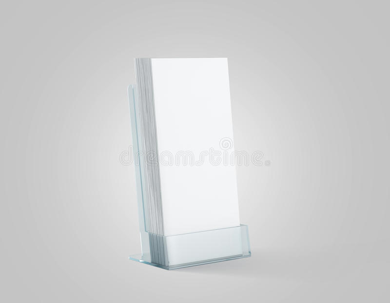 Blank white flyers stack mockup in glass plastic holder,. 3d rendering. Dl fliers mock ups stand in the acrylic box. Brochure template holding in transparent royalty free stock images