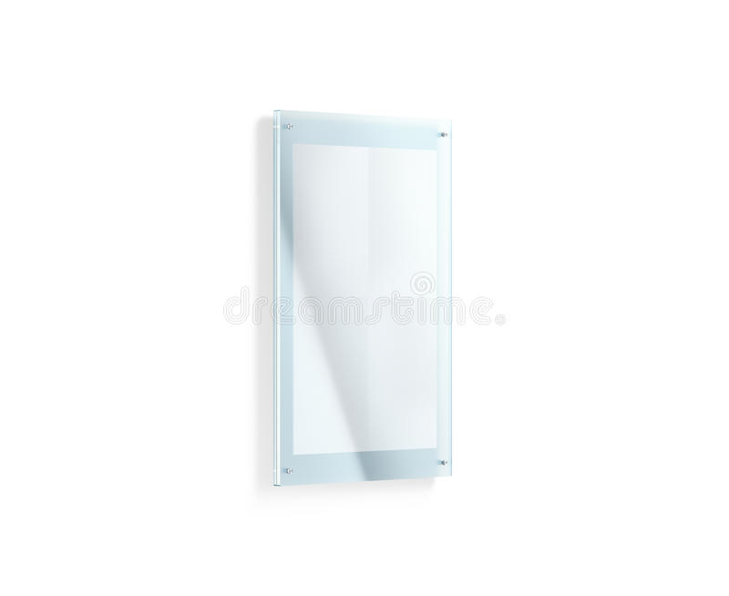 Blank white folded poster mockup under the acrylic holder. 3d rendering. Glass sign plate holding clear affiche mock up. Paper canvas in transparent frame stock images