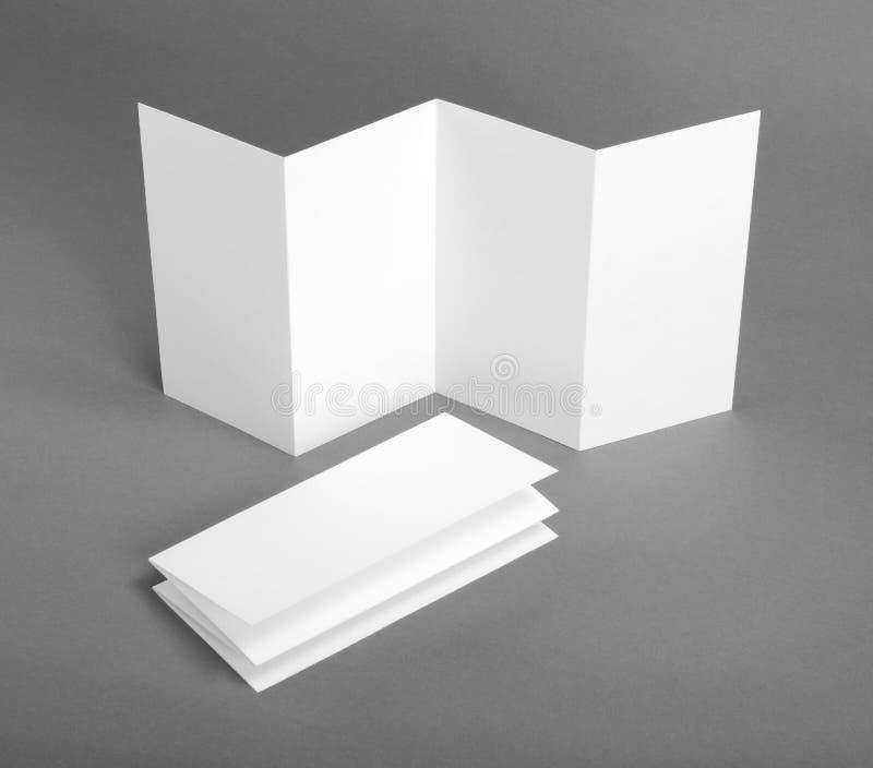 Blank white folding paper flyer. Identity design, corporate templates, company style, blank white folding paper flyer stock photo