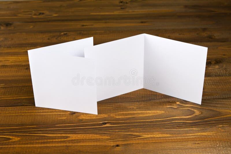 Blank white folding paper flyer. Identity design, corporate templates, company style, blank white folding paper flyer stock photos