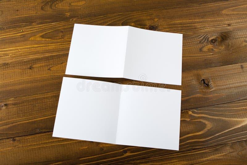 Blank white folding paper flyer. Identity design, corporate templates, company style, blank white folding paper flyer stock photography