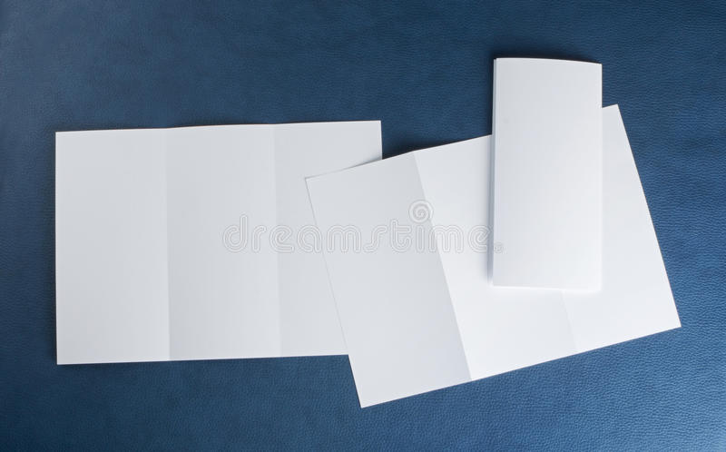 Blank white folding paper flyer. Identity design, corporate templates, company style, set of booklets, blank white folding paper flyer royalty free stock photos