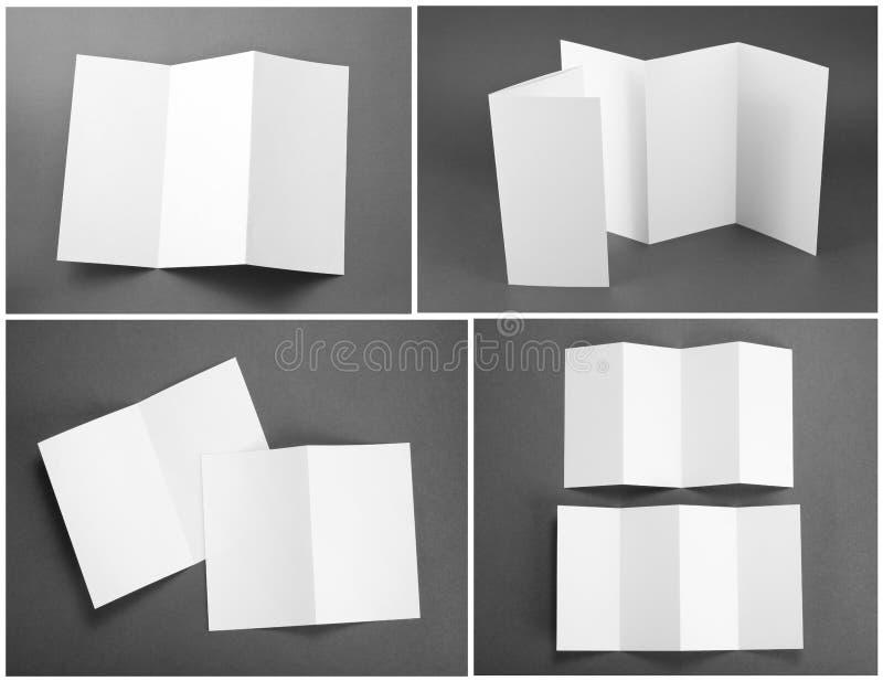 Blank white folding paper flyer royalty free stock photo