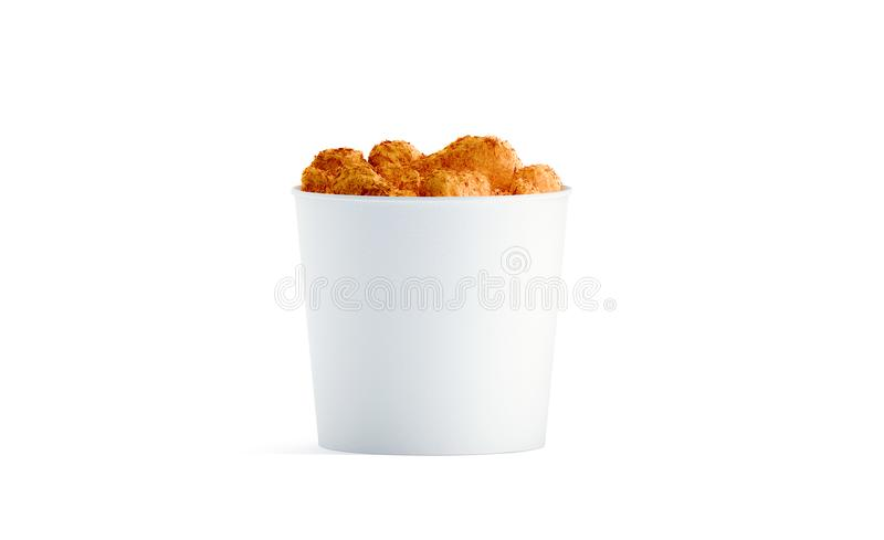 Blank white food bucket with chicken wings mockup isolated stock image