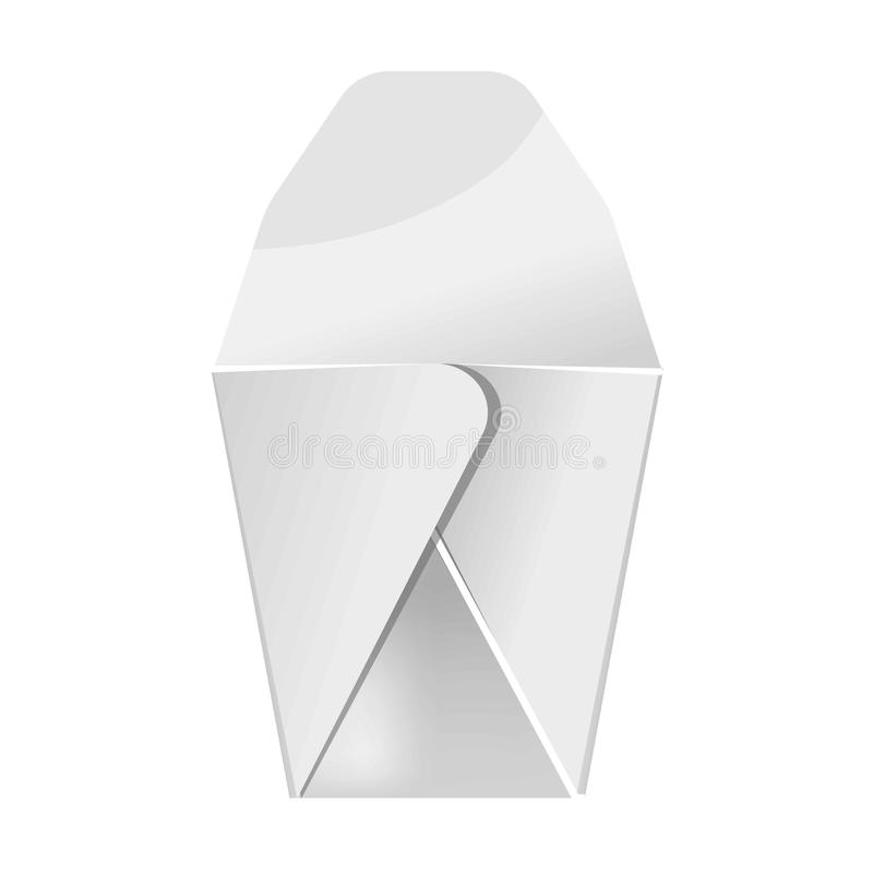 Blank white food paper container isolated vector illustration. Blank white food paper container isolated close up vector illustration in flat design. Box made of royalty free illustration