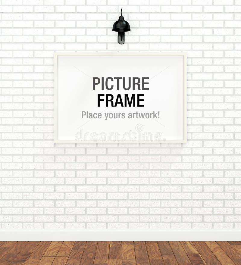 Blank white frame. Big blank white frame on white brick wall stock illustration