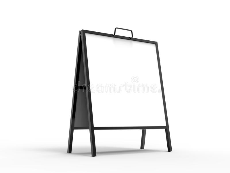Blank white A frame metallic outdoor advertising stand mockup set, isolated, 3d rendering. Clear street signage board mock. Up. A-board with metal frame stock illustration