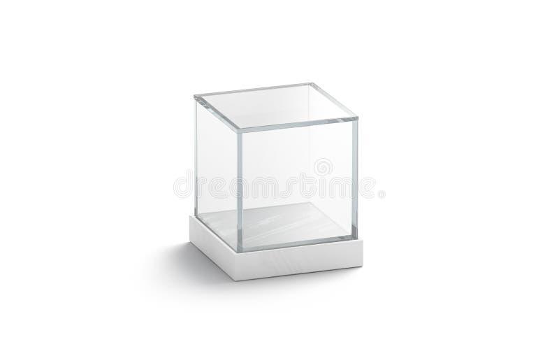 Blank white glass showcase cube mock up, isolated. 3d rendering. Empty acrylic podium box mockup. Clear plexiglass vitrine for expo or voting. Interior stock illustration