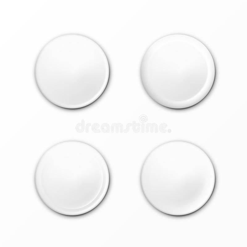Blank White Glossy Badge Or Web Button Set royalty free stock image