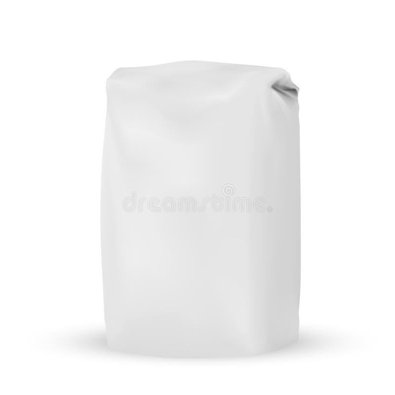 Blank white gray packaging bag for bulk products. VECTOR PACKAGING: Blank white gray packaging bag for bulk products, salt, tea, coffee, spices on white royalty free illustration