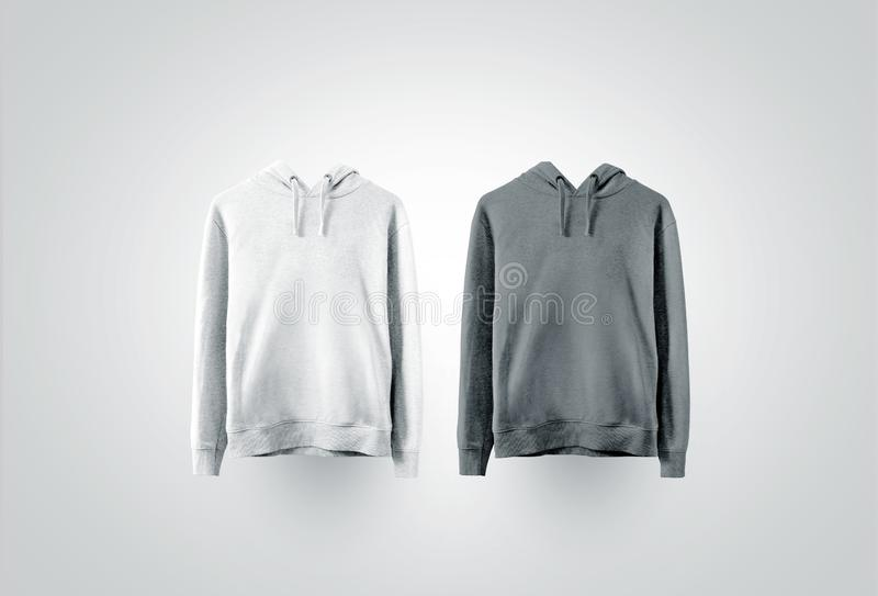 Blank white and gray sweatshirt mock up set. Empty teenager sport overall clothe mockup, front view. Clear cotton or fleece men pullover mokcup template stock images