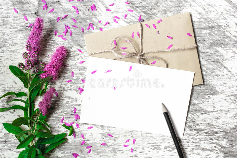 Blank white greeting card, envelope and pencil with purple wildflowers stock image