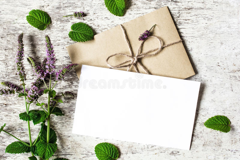 Blank white greeting card and envelope with purple wildflowers of mint. Mock up on white rustic wood background for creative work design. top view royalty free stock images