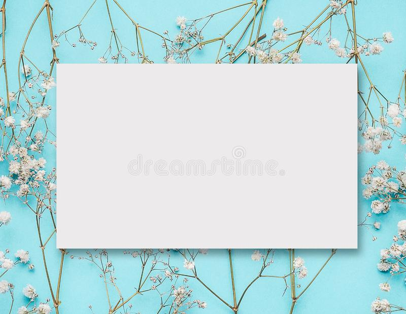 Blank white greeting card layout on little white flowers at turquoise blue stock image