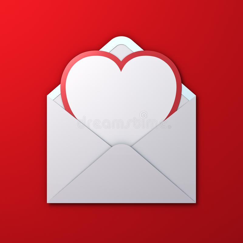 Blank white heart shape paper cut card with red edge in white envelope isolated on red background with shadow stock photo