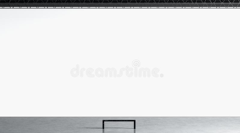 Blank white huge gallery wall with bench in museum mockup stock illustration