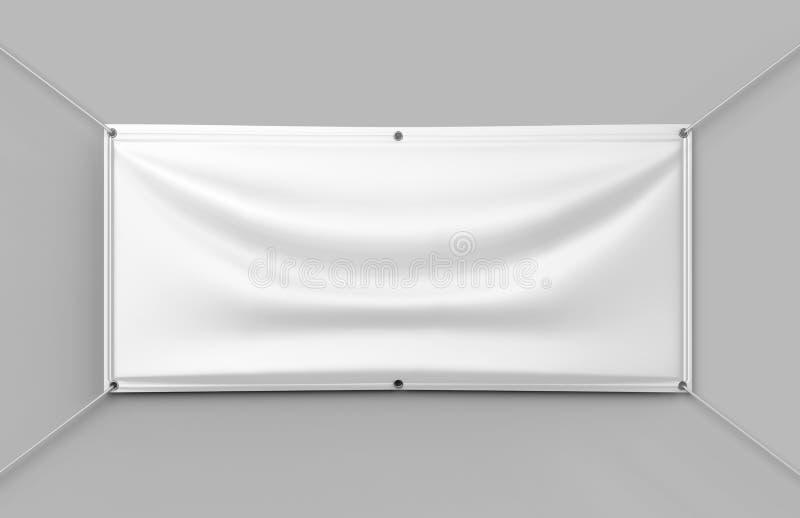 Blank White Indoor outdoor Fabric & Scrim Vinyl Banner for print design presentation. 3d render illustration. royalty free illustration