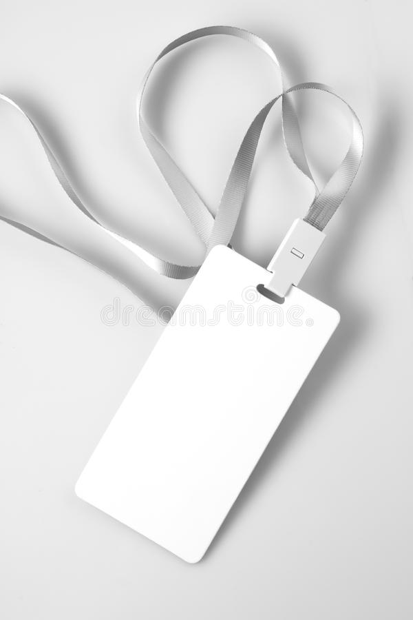 Blank White Lanyard Tag Badge Mockup royalty free stock photography