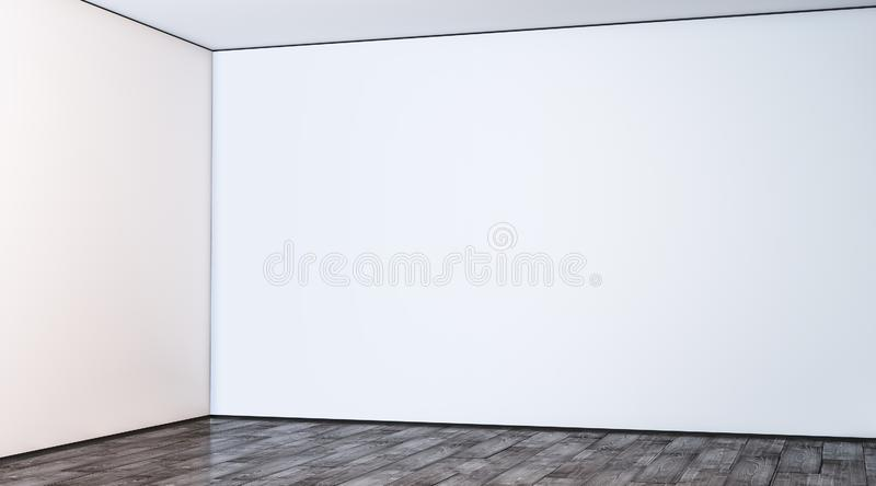 Blank white large gallery wall corner in hall mockup royalty free illustration