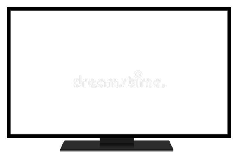 LCD TV screen. A blank white LCD TV screen with a black frame on a white background