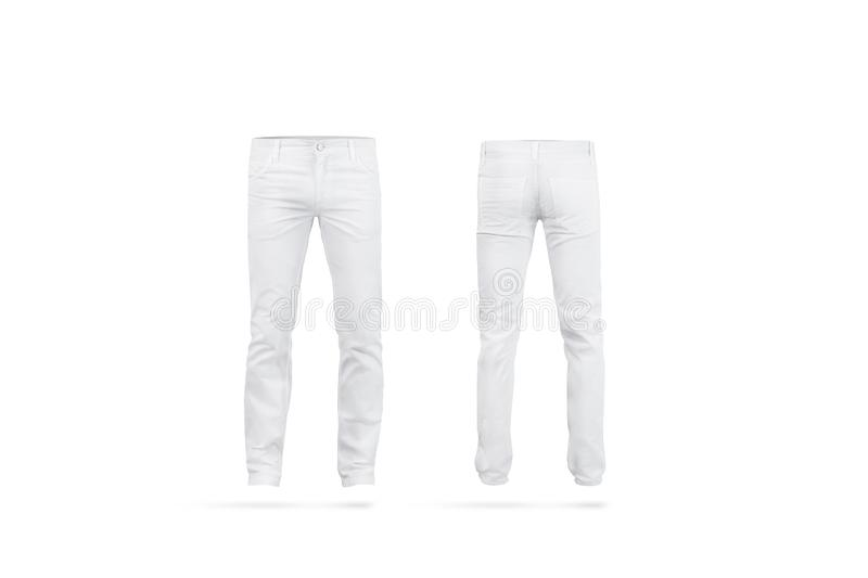 Blank white mens pants mock up, isolated royalty free stock image
