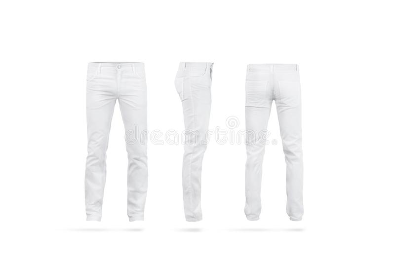 Blank white mens pants mock up set, isolated. Front, back and side view. Empty men apparel mockup. Fashion stretch clothes for office template royalty free stock photography
