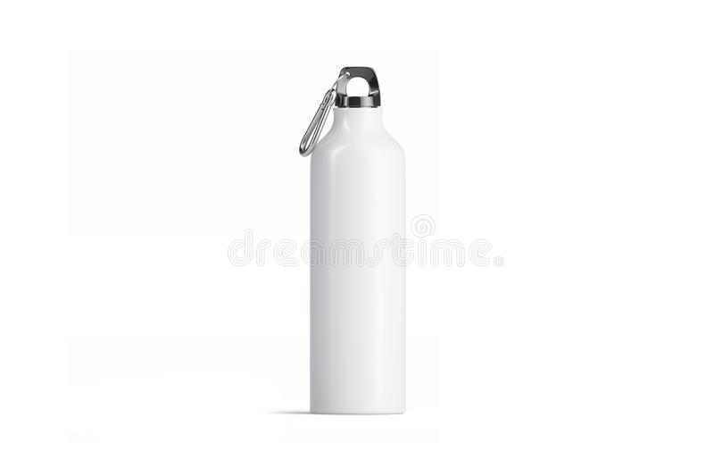 Blank white metal sport bottle mockup, isolated, front view royalty free illustration