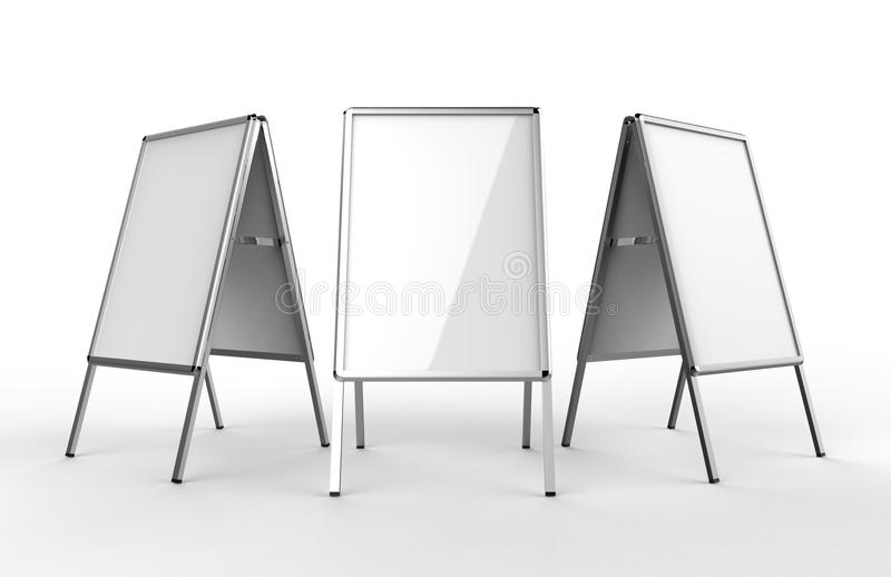 Blank white metallic outdoor advertising stand isolated, Clear street signage board mock up. A-board with metal frame template. 3d. Blank white metallic outdoor stock illustration