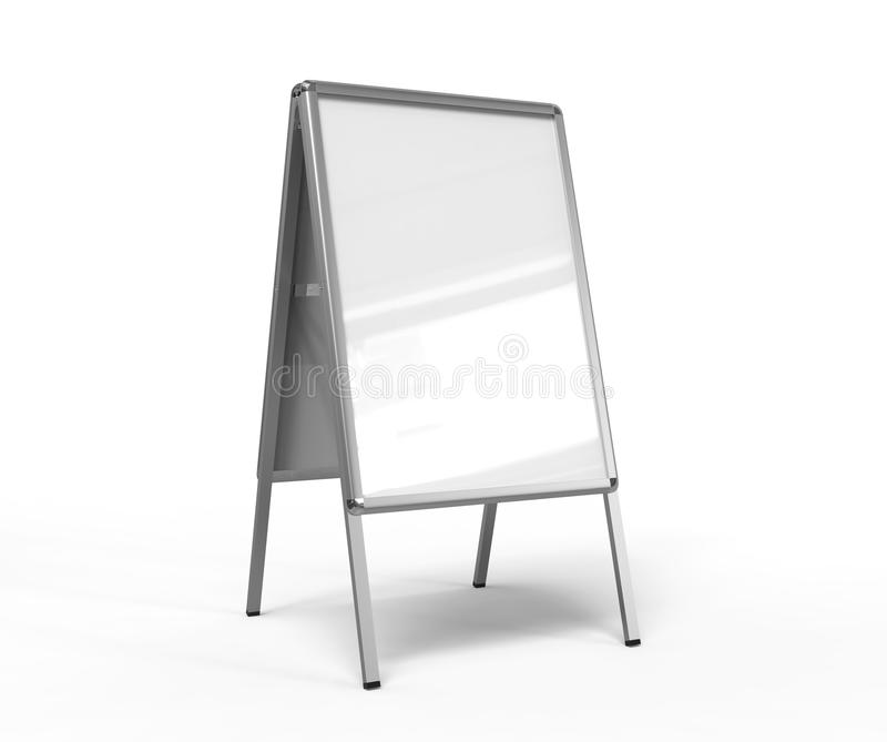 Blank white metallic outdoor advertising stand isolated, Clear street signage board mock up. A-board with metal frame template. 3d. Blank white metallic outdoor royalty free illustration