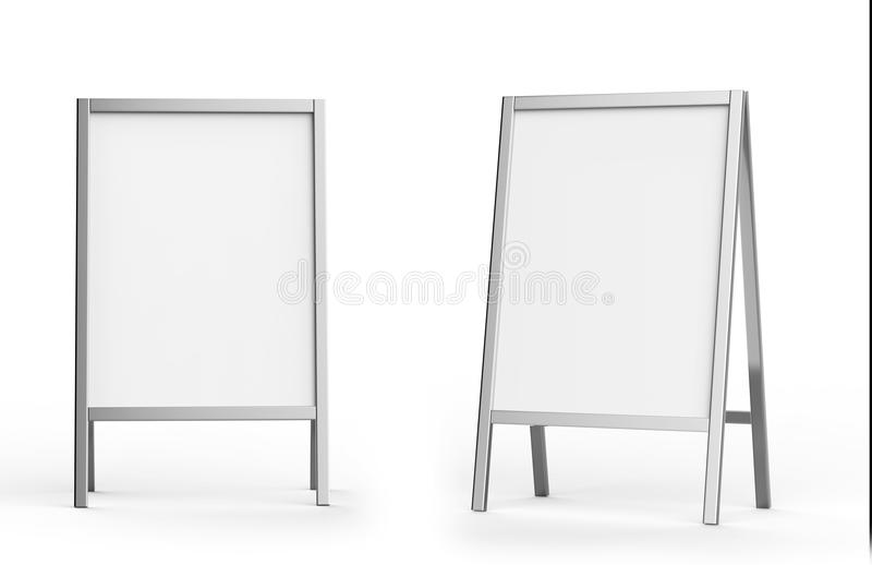 Blank white metallic outdoor advertising stand mockup set, , 3d rendering. Clear street signage board mock up. A-board stock illustration