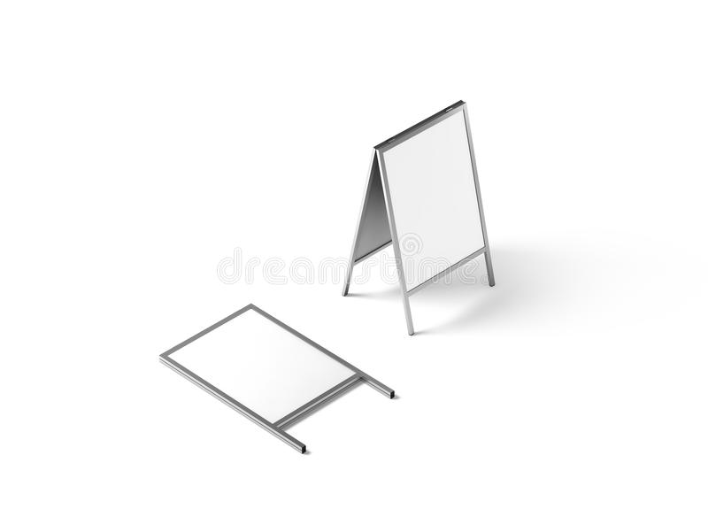 Blank white metallic outdoor stand mockup, isolated, stock photography