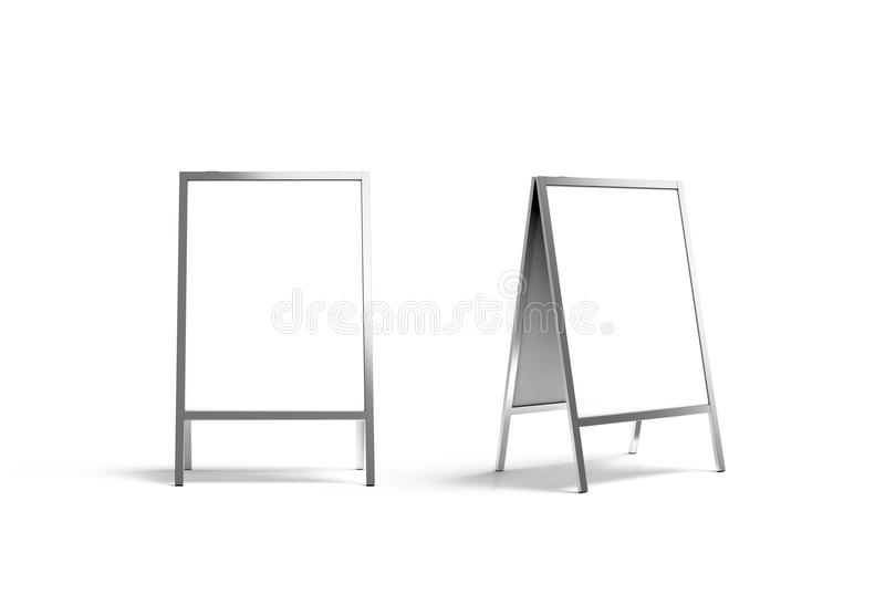 Blank white metallic outdoor stand mockup set, isolated, front. And side view, 3d rendering. Clear street signage board mock up. A-board with metal frame royalty free stock image