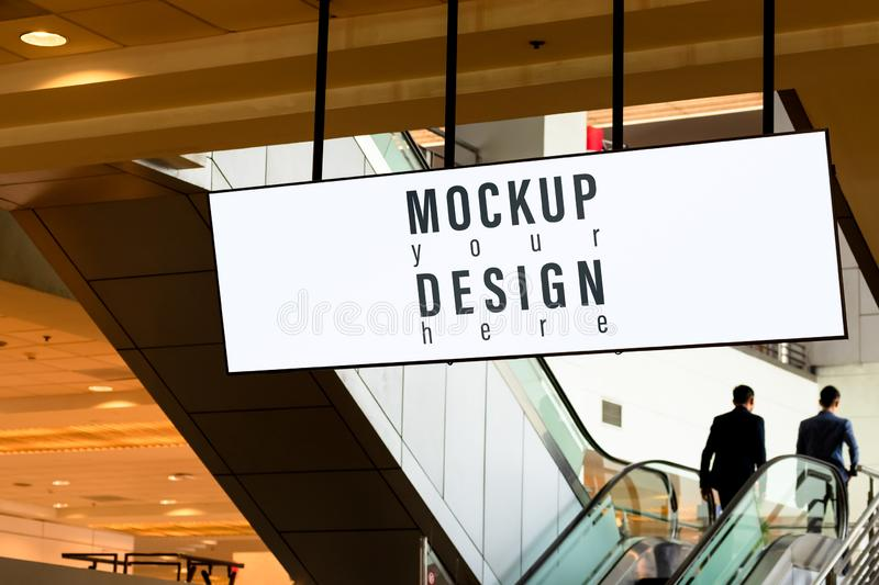 Blank white mock up Banner Panorama screen light box with business background. Advertising banner media display backdrop mockup royalty free stock photos