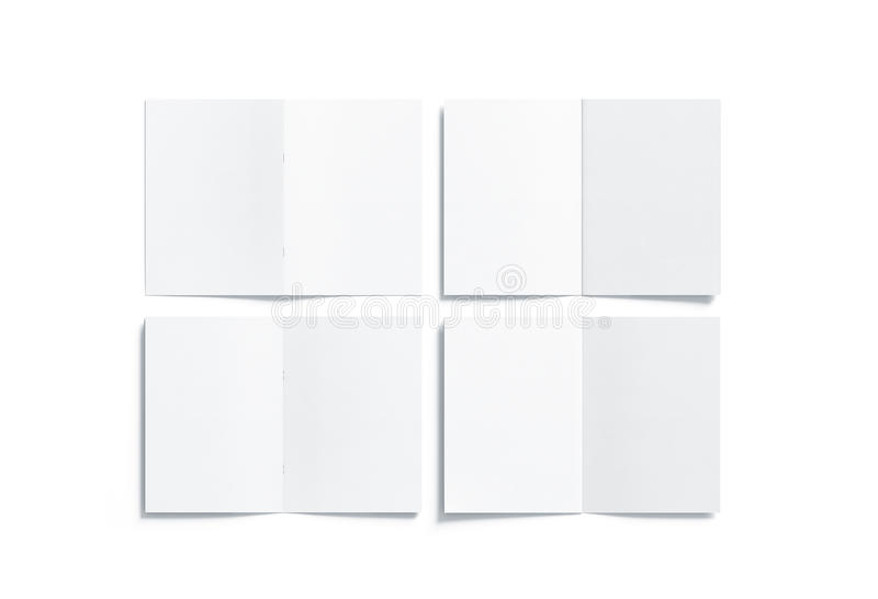 Blank white multi-page a5 booklet mock up, front back side. Blank white multi-page a5 booklet mock up, front and back side, all pages top view, 3d rendering stock photography