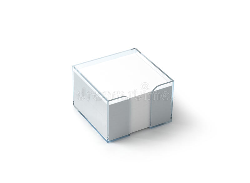 Blank white note paper block plastic holder mockup. Clipping path, 3d rendering. Empty glue stickers hold in transparent glass box mock up. Post it notepads stock illustration