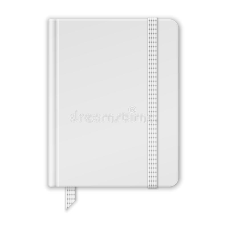 Blank White Notebook. Copybook Template With Band And Bookmark