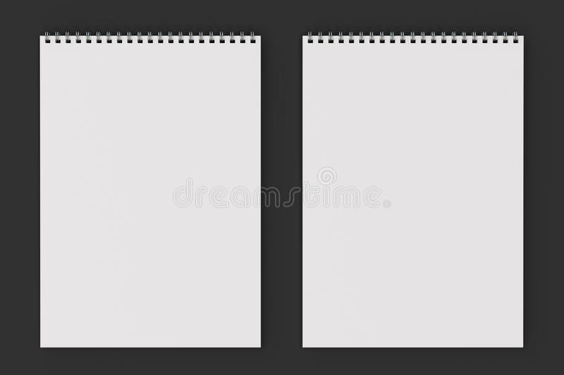 Blank white notebook with metal spiral bound on black background. Business or education mockup. 3D rendering illustration stock illustration