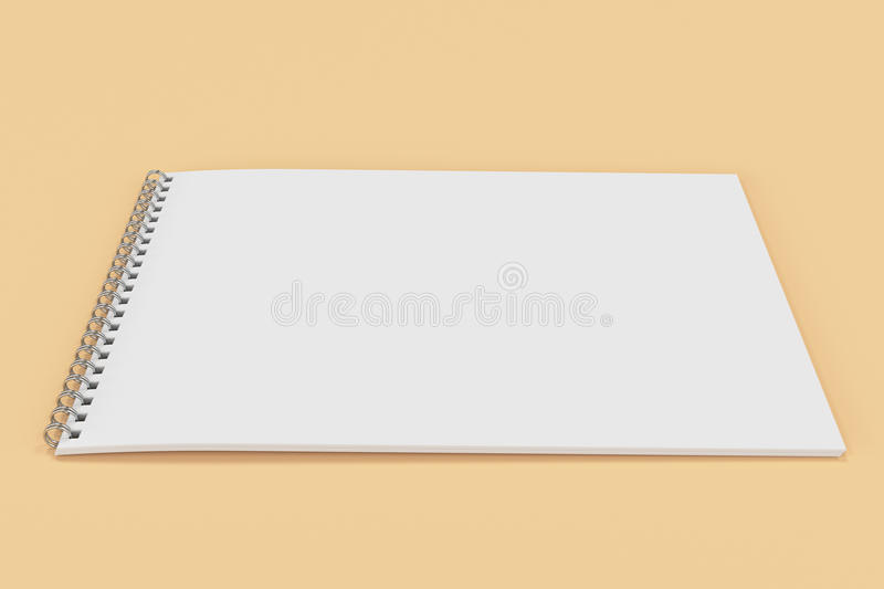Blank white notebook with metal spiral bound on orange background. Business or education mockup. 3D rendering illustration stock illustration