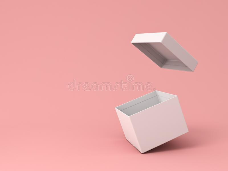 Blank white open cardboard box isolated on pink pastel color background vector illustration