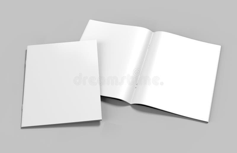 Blank white catalog, magazines,book mock up on grey background. 3d render illustration. Blank white open front catalog, magazines,book mock up on grey vector illustration