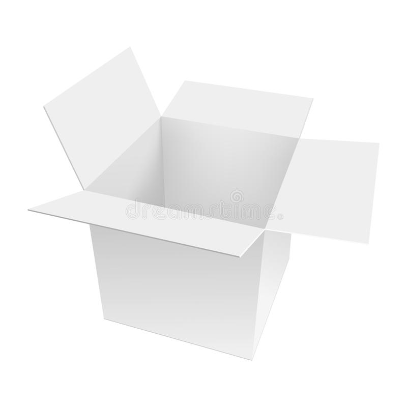 Blank of white opened cardboard box . Perspective view. Mock up box. Vector.  stock illustration