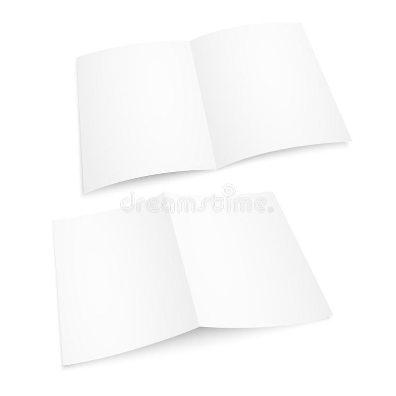 Blank white opened magazine. Paper album or book mockup on white background. Vector mockup. Brochure or booklet template stock illustration