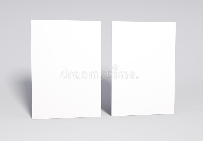 Blank 2 white Pages Mock up, 3d rendering. stock photos