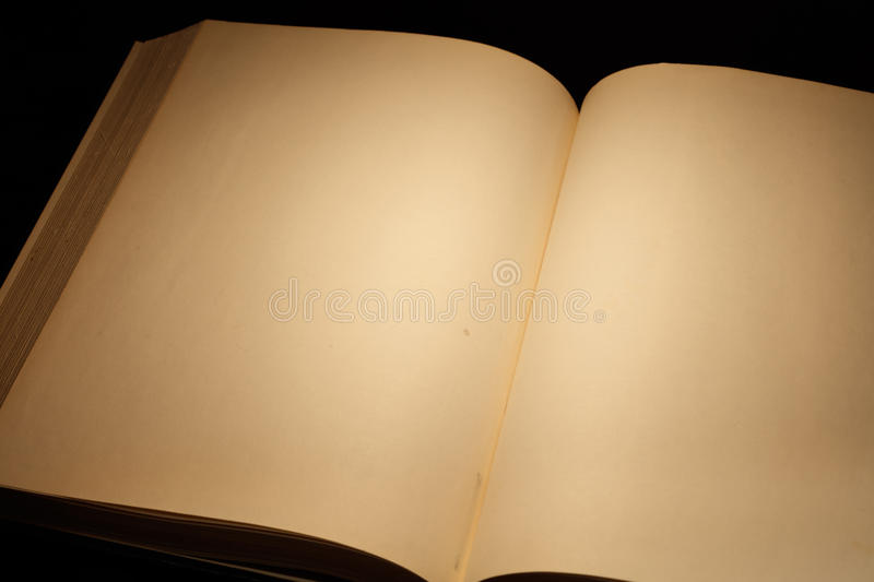 Blank white pages in an open book. Blank white pages in an open hardcover book royalty free stock images