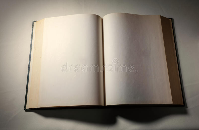 Blank white pages in an open book. Blank white pages in an open hardcover book stock photo