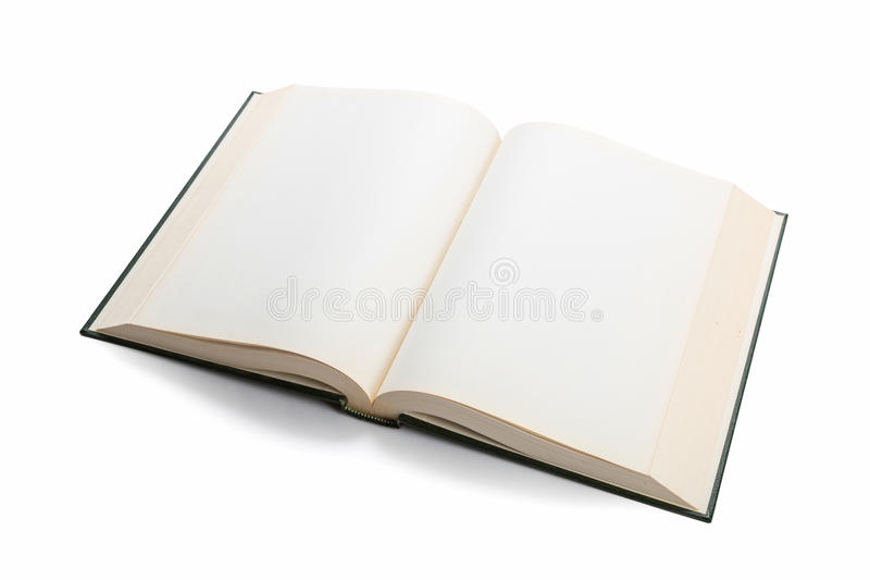 Blank white pages in an open book. Blank white pages in an open hardcover book isolated on a white background stock photos