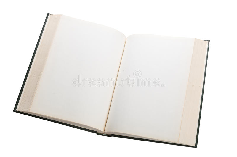 Blank white pages in an open book. Blank white pages in an open hardcover book isolated on a white background stock image
