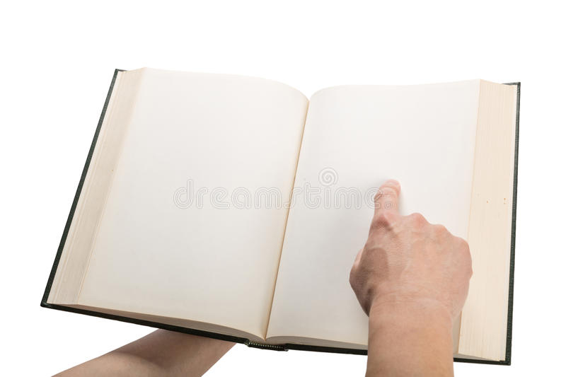 Blank white pages in an open book. Blank white pages in an open hardcover book isolated on a white background stock images